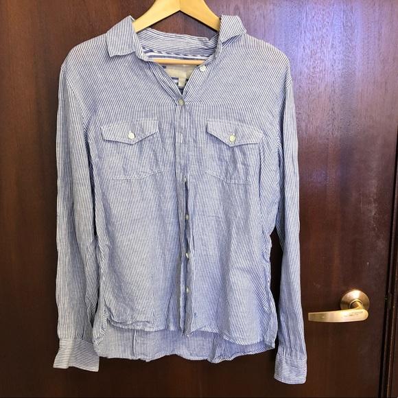e197aa451a Banana Republic Blue Striped Linen Shirt